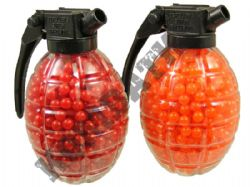 1600 x 6mm x 12g Orange Red Airsoft BB Gun Pellets in Grenade Tubs